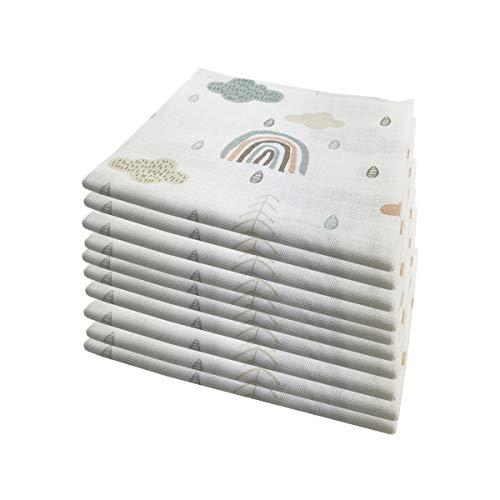 10x Spucktücher Mullwindeln Baby Baumwolle 80x70 cm   ÖKO-TEX (Wolken (10 grün))