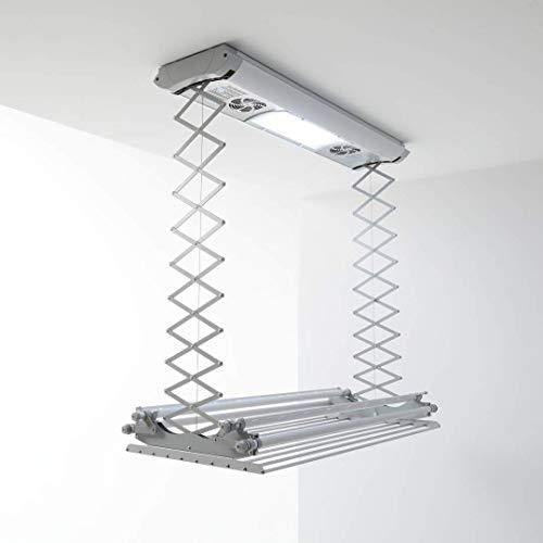 Foxydry Air Kompakter elektrischer Wäscheständer für Wand oder Decke mit Fernbedienung in Aluminium und...