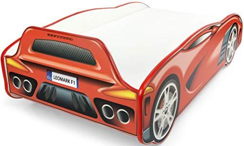 Leomark Autobett Sport CAR Kinderbett mit Matratze 140 x 70 Juniorbett inklusiv Matratze Funktionsbett...