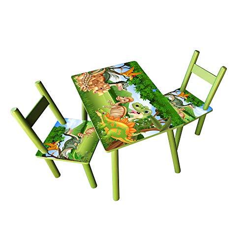 HTI-Line Kindertischgruppe Dinos Kindermöbel Kinderstuhl Kindersitzgruppe Holzsitzgruppe Kindertisch mit 2...