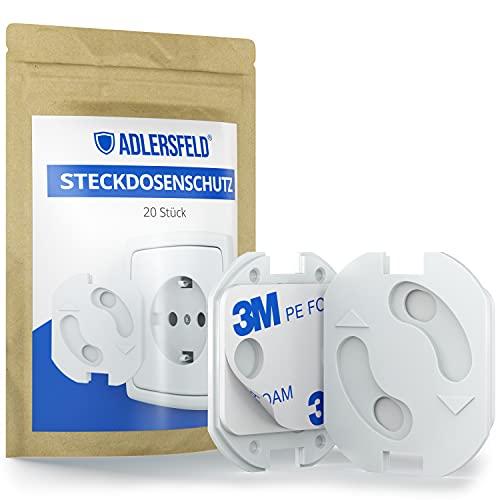 Adlersfeld® - Steckdosen Kindersicherung - [20 Stück] - Steckdosenschutz zum Kleben - Kindersicherung für...