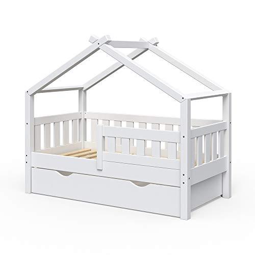 VitaliSpa Design Kinderbett 140x70 Babybett Jugendbett mit Schublade Lattenrost (Weiß)