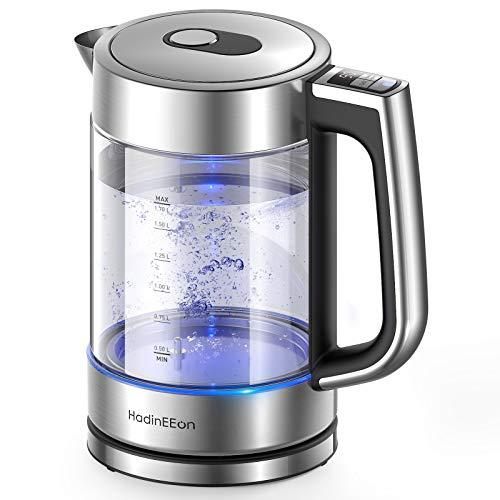 HadinEEon Wasserkocher mit Temperatureinstellung, Edelstahl Glaswasserkocher mit Beleuchtung 1.7L, 2200W...