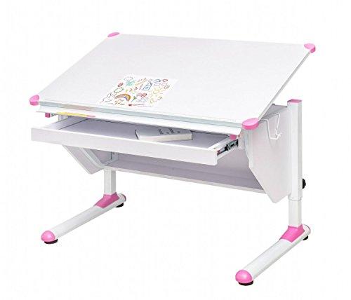 MSZ Design Kinderschreibtisch Schülerschreibtisch Variant weiß verstellbar mit Schublade und Wechselkappen...