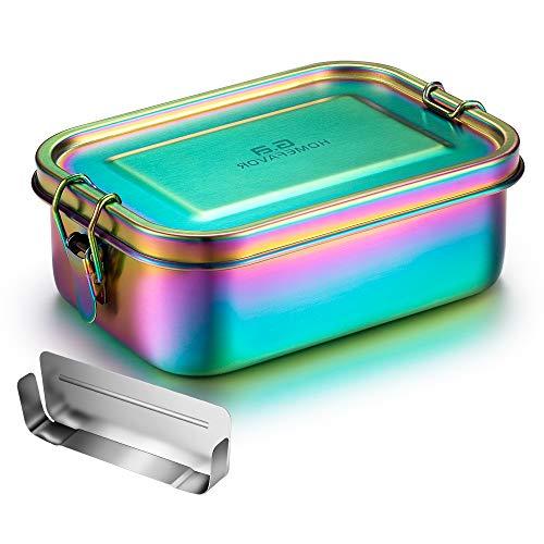 G.a HOMEFAVOR Edelstahl Brotdose Bento Box Auslaufsich Metall Lunchbox 800ml mit Herausnehmbarer Trennwand...