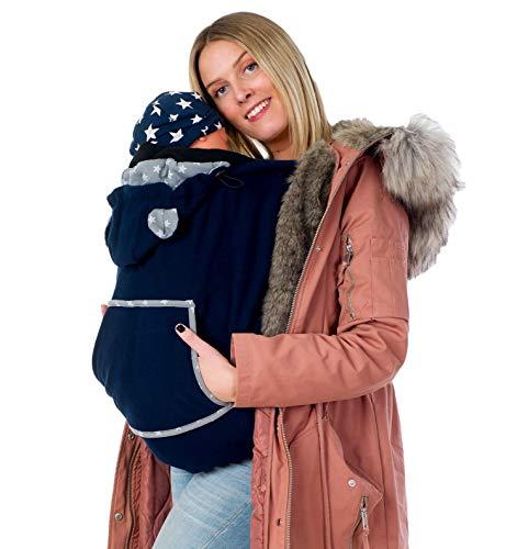 Divita Fleece Tragecover für Tragejacken & Tragetücher Babytrage Cover mit Schalkragen (Dunkelblau)