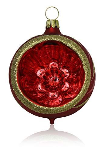 Kugeln mit Einstich rot matt mit Dekor 4 Stück d 6cm Christbaumschmuck Weihnachtsbaumschmuck mundgeblasen,...
