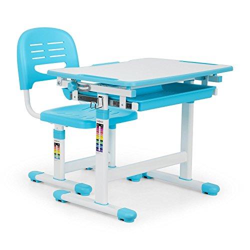 OneConcept Tommi - Kinderschreibtisch-Set, für Kinder 3-10 Jahre, zweiteilig, Tisch und Stuhl, neigbare...