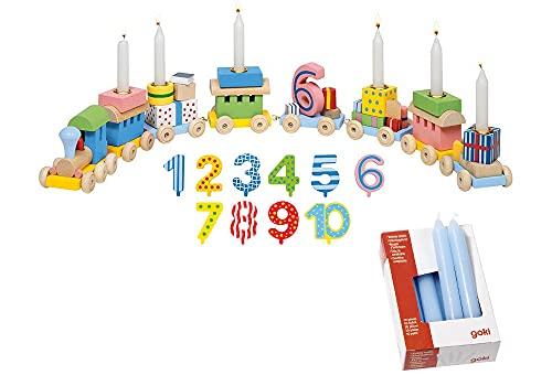 Ameisenkeks ® Geburtstagszug + Zusatzzahlen + 10 Kerzen blau von goki
