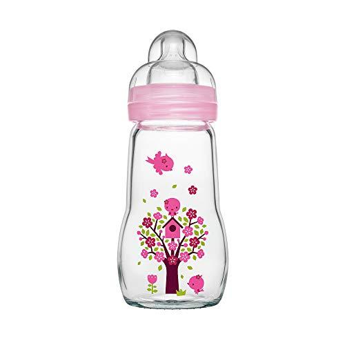 MAM Feel Good Babyflasche aus Glas (260 ml), Babyflasche mit weiter Öffnung, stabile Baby Trinkflasche mit...
