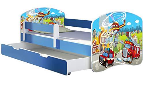 ACMA Kinderbett Jugendbett mit Einer Schublade und Matratze Blau mit Rausfallschutz Lattenrost II 140x70...