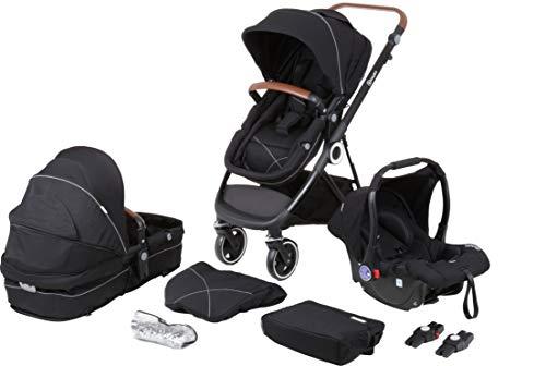 babyGO Kinderwagen 3 in 1 Halime mit Schwarzem Gestell - Kinderwagenset für Babys - Babywanne, Sportsitz und...