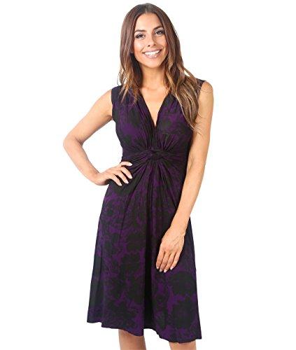 KRISP 6309-PUR-10 Damen Kleid Geknotet Blumenmuster (Violett, Gr.38)