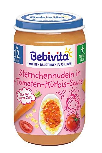 Bebivita Menüs ab 12. Monat, Limitiert Prinzessin - Sternchennudeln in Tomaten-Kürbis-Sauce, 6er Pack (6 x...