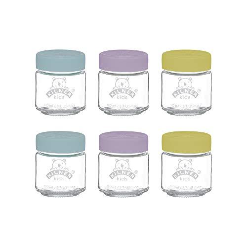 Killner 0025.016 Kilner Silikonverschluss, 6 x 110 ml Babygläser, Glas, 110 milliliters