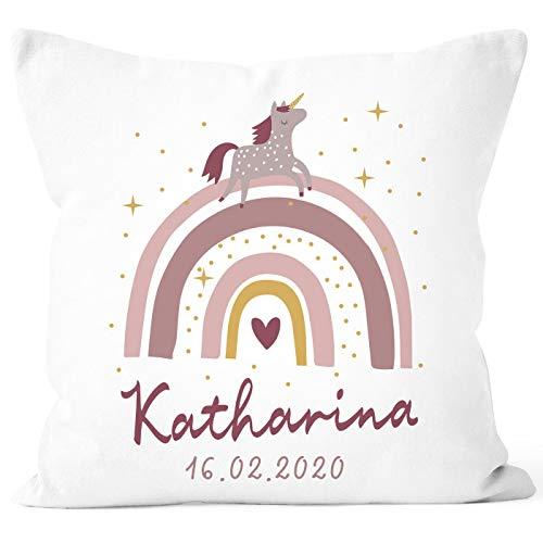 SpecialMe® personalisierbarer Kissen-Bezug zur Geburt Mädchen Regenbogen Einhorn Geburtskissen Geschenk...