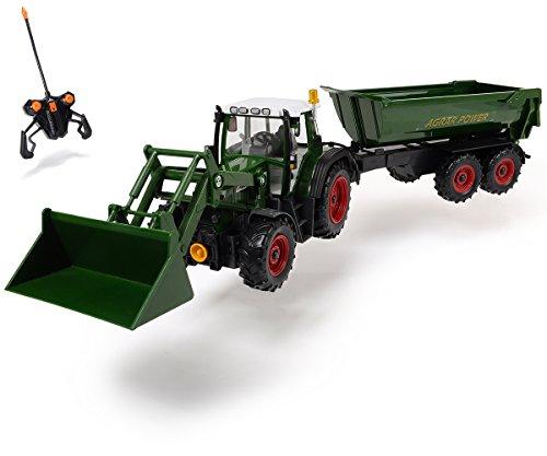 Dickie Toys 201119266 - RC Farmer Set, funkferngesteuerter Traktor mit Anhänger inklusive Batterien, 60 cm