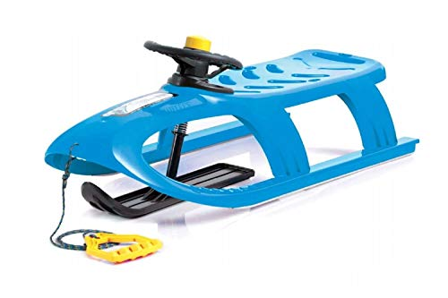 Schlitten Kinderschlitten Kunststoffschlitten blau aus Kunststoff inkl. Lenkrad mit Hupe, Zugseil Schieber...