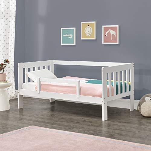 [en.casa] Kinderbett mit Rausfallschutz 70x140 cm Jugendbett mit Schutzgitter bis 50 kg und Lattenrost...