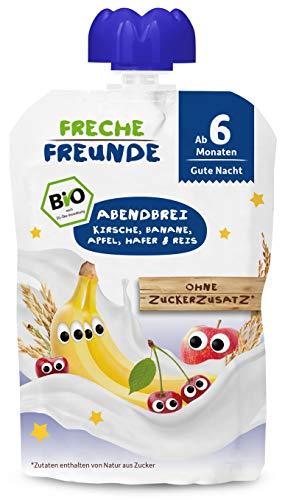 FRECHE FREUNDE Bio Beikost Quetschie Abendbrei Kirsche, Banane, Apfel, Hafer & Reis, Babynahrung ab dem 6....