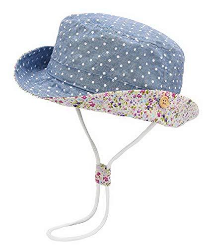 DEMU Baby Hut Sonnenhut Sonnenschutz Strandhut Kinder Sommerhut Wendehut UV-Schutz Sommermütze Blau Punkt Hut...