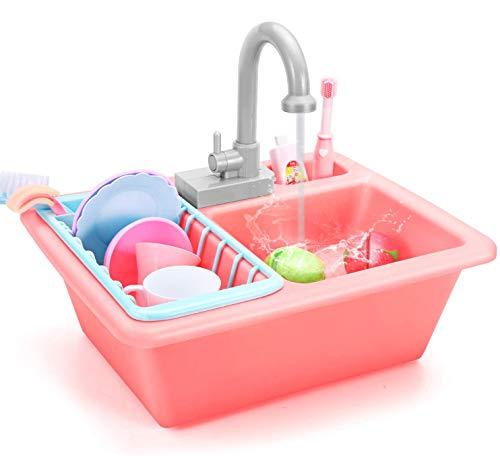 Ucradle Küchenspielzeug - Kinder Küche Spielzeug mit Geschirr Zubehör Wasserkreislauf Spülmaschine Set...