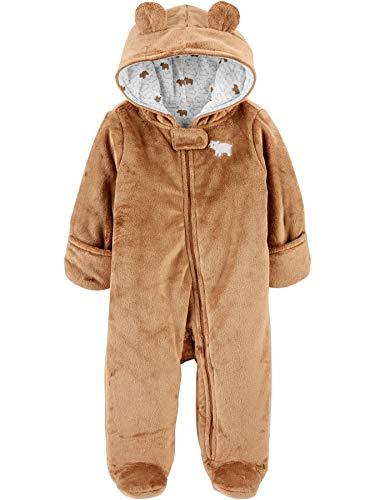 Simple Joys by Carter's Fleece Footed Jumpsuit Pram Schneeanzug, Braun, Bär, 3-6 Monate
