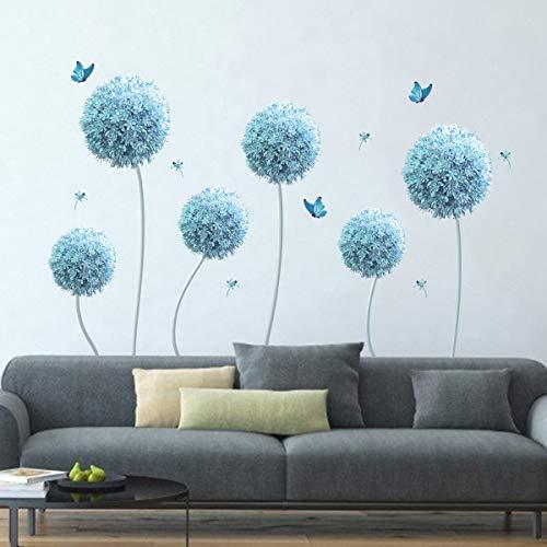 decalmile Wandtattoo Blau Allium Blumen Wandsticker Schmetterling Wandaufkleber Groß Wohnzimmer Schlafzimmer...