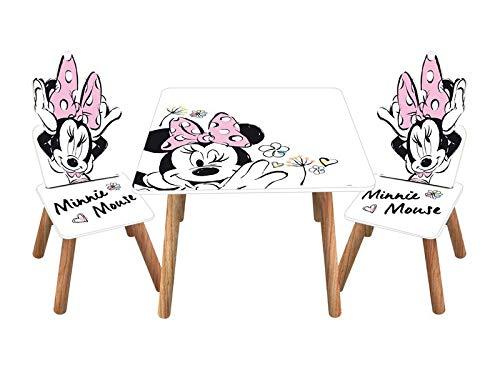 Familie24 3tlg. Minnie Maus Holz - Kindersitzgruppe Tisch + 2X Stuhl Sitzgruppe Kindertisch Maltisch...