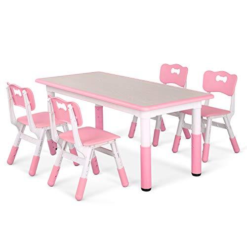 LAZY BUDDY Kindertisch mit 4 Stühlen, Kindertischgruppe Plastik, Höhenverstellbar Zeichenbrett Table für...
