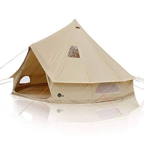your GEAR Desert 8 Mann Campingzelt Tipi mit Stehhöhe Familienzelt aus Baumwolle mit Bodenwanne und UV50+...