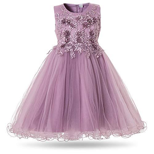 CIELARKO Mädchen Kleid Prinzessin àrmellos Blumen Hochzeits Festzug Kleid Blumenmädchen Kleider, Violett,...