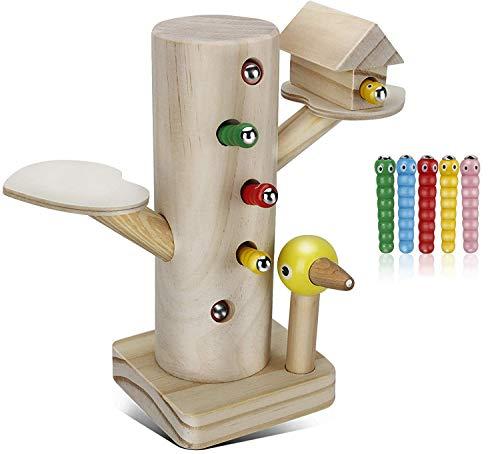 Jooheli Montessori Spielzeug, Magnetisches Spielzeug Kinder Spiel 3 Jahre, Specht Raupen Fangen Spiel...