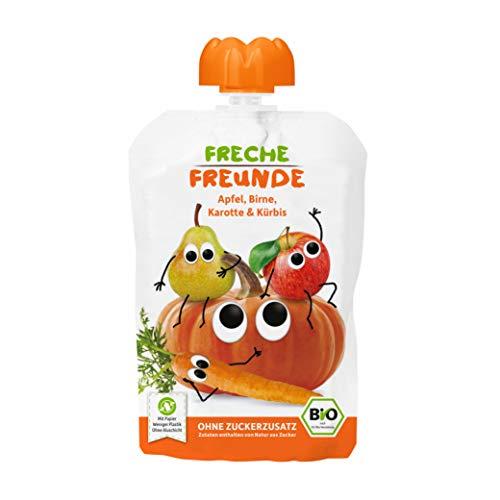 FRECHE FREUNDE Bio Quetschie Apfel, Birne, Karotte & Kürbis, Fruchtmus im Quetschbeutel für Babys ab dem 6....