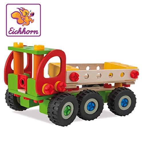Eichhorn 100039039 - Constructor Kranwagen, 190-tlg., Holz-Konstruktions-Set, 4 verschiedene Modellvarianten...