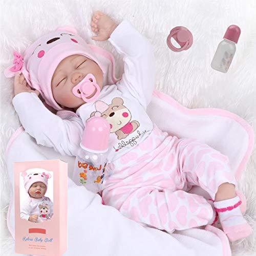 antboat 22 Zoll 55cm Lebensechte Reborn Baby Puppen Mädchen Reborn Baby Silikon Weiches Silikon Neugeborenes...