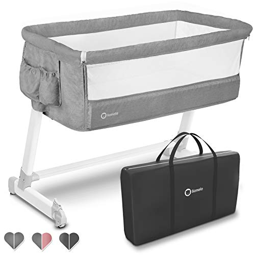 Lionelo Theo 2in1 Baby Bett Reisebett Baby Beistellbett Baby ab Geburt bis 9 kg Höhenverstellung Einstellung...