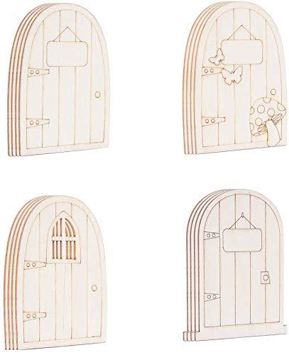 Super Idee 24 Stück Süße Wichteltüren Nissedor aus Holz für Kindergeburtstag Kita zum Basteln und...