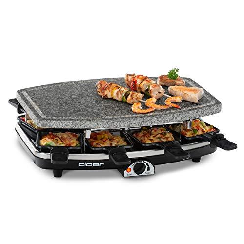 Cloer 6430 Raclette-Grill mit Naturstein, (1200 Watt, 8 Pfännchen antihaftbeschichtet mit wärmeisolierten...