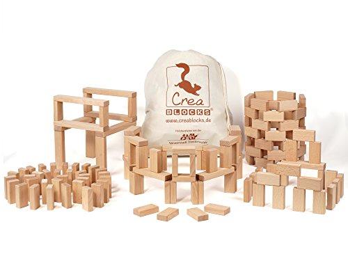 CreaBLOCKS Holzbausteine Grundpaket (156 unbehandelte Bauklötze) (im Baumwollbeutel) Made in Germany