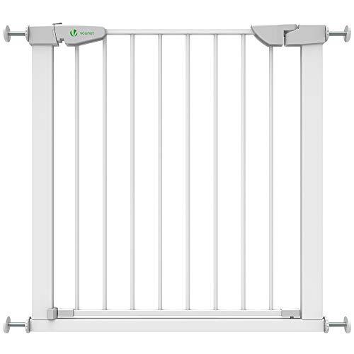 VOUNOT Treppenschutzgitter 76–84cm, ohne Bohren, Türschutzgitter für Kinder, Hunde und Katzen, Auto-Close...