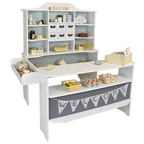 roba Kaufladen Macaron Mint-Weiss aus Holz - Kaufmannsladen für Kinder - Marktstand