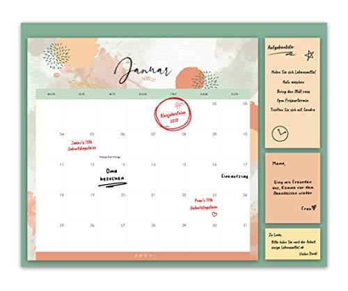 Familienkalender 2021 – jeder Monat zum Ansehen, Familienplaner mit 3 x Klebezettel – ein Planer für...