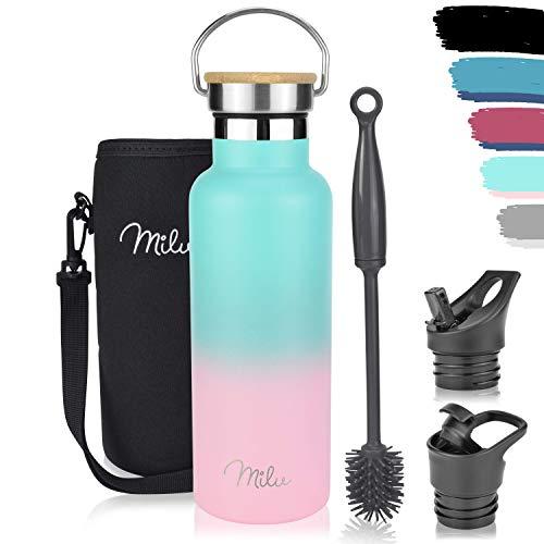 Milu Edelstahl Trinkflasche 500ml, 750ml, 1000ml (+3 Deckel) - Thermosflasche mit Strohhalm, Isolierte...