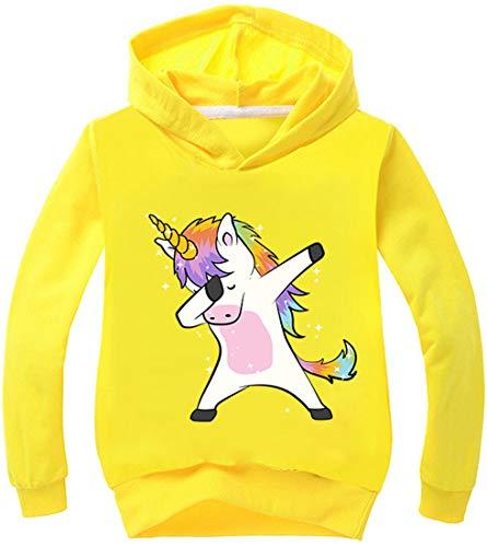 PANOZON Mädchen Pullover 3D Einhorn Digital Motiv Langärmelig Sweater mit Kapuzen Streetwear (Gelb135-21,...