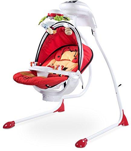 CARETERO Bugies Babyschaukel Babywippe Schaukelwippe drehbarer Sitz Timer elektronisches Mobile mit Lichern,...