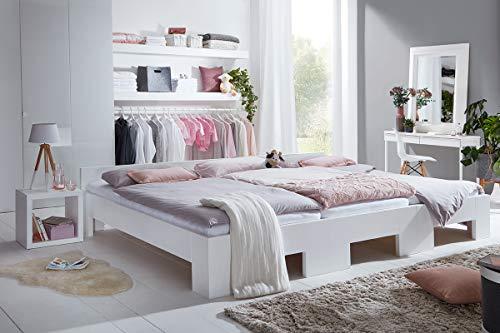 Rima Original Familienbett | Modell Capri | Fichte massiv | weiß lackiert | 270x200cm