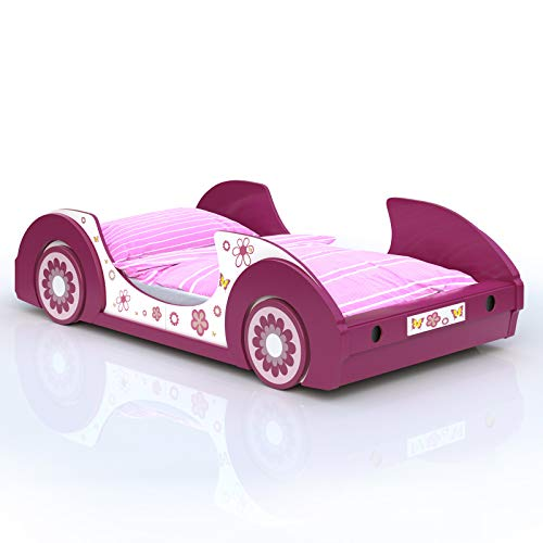 Deuba Kinderbett aus Holz | 90x200cm | Gestell mit Rost | Holz | pink weiß Mädchenbett Autobett Bett...