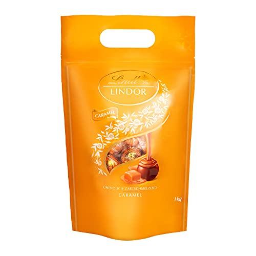 Lindt LINDOR Kugeln Caramel | 1 KG Beutel | ca. 80 Kugeln Milch-Schokolade mit Karamellcrèmefüllung |...