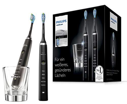 Philips Sonicare DiamondClean Elektrische Zahnbürste Doppelpack HX9357/87, 2 Schallzahnbürsten mit 5...